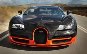 Обои машина, фары, решетка, Bugatti, Veyron, передок, Super Sport