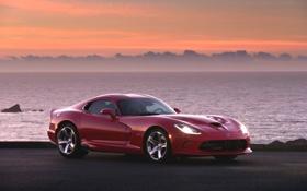 Обои Красный, Море, Вечер, Авто, Машина, Dodge, Viper