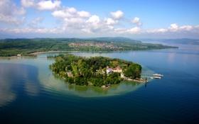 Картинка пейзаж, природа, остров, Германия, горизонт, сверху, Island Mainau