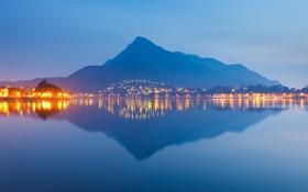 Обои море, небо, вода, горы, природа, city, город