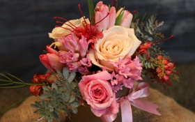Обои фото, Цветы, Тюльпаны, Букет, Розы, Гиацинты