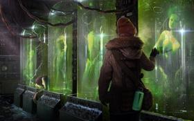Обои фантастика, sci-fi, помещение, опыты, лед, арт, холод