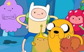 Обои Cartoon, Финн, Время Приключений, Jake, Finn, Джейк, Пупырка