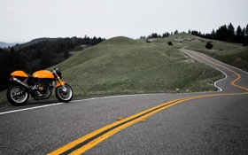 Картинка дорога, путешествия, мотоциклы, пейзажи, дороги, путешествие, ducati