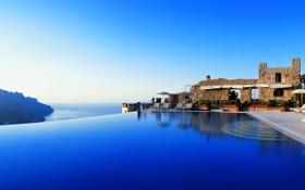 Обои вилла, бассейн, вид, настроение, море
