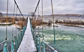 Картинка мост, Зима, Река, Угра, Кондрово