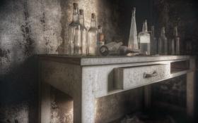 Обои стол, комната, бутылки