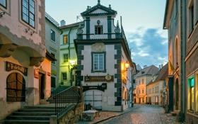 Картинка небо, огни, улица, дома, вечер, Чехия, Чески-Крумлов