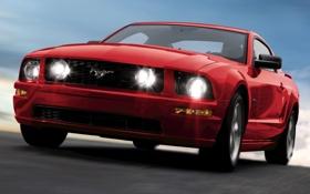 Обои авто, фары, тачка, 2005, Mustang GT