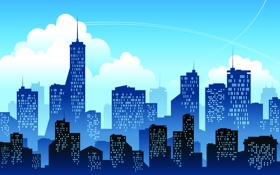 Обои окна, высотки, город, небо, облака, здания, следы от самолёта