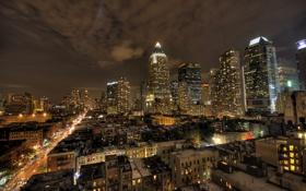Обои город, окнах, ночь, нью йорк, свет
