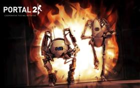 Обои Огонь, Роботы, Robots, Valve, Portal 2