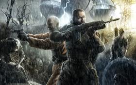 Обои дождь, молнии, Stalker, сталкер, бойцы, зона, снорки