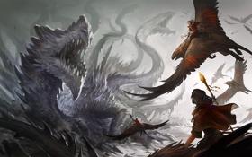 Картинка птицы, оружие, дракон, монстр, арт, посох, битва