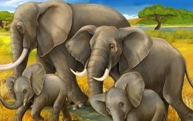 Обои пейзаж, слоны, рисунок, семья