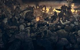 Картинка солдаты, война, gears of war, монстры