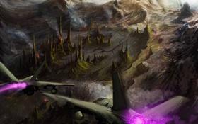 Обои полет, горы, город, скалы, арт, самолеты, истребители