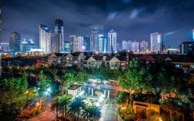Картинка огни, China, здания, Китай, Shanghai, Шанхай, ночной город