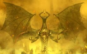 Обои огонь, дракон, воин, фэнтези, искры, сражение, копьё