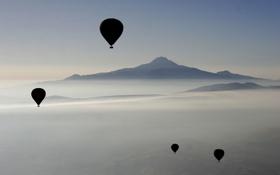 Картинка небо, горы, воздушный шар, воздушные шары, города, спорт, пейзажи