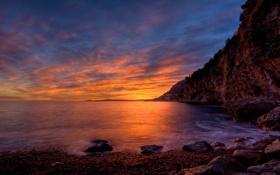 Картинка море, небо, закат, камни, скалы, берег