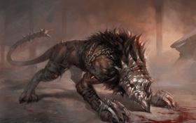 Картинка кровь, лезвия, пес, когти, цепи, hell dog