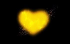 Обои брызги, сияние, сердце