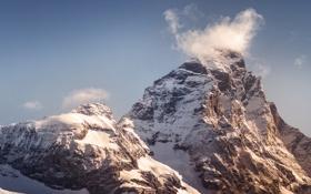 Обои небо, снег, гора, Швейцария, Альпы, Маттерхорн