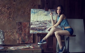 Картинка Girl, Legs, Beautiful, Picture, Oil, Hair, Drawing