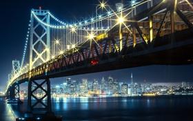Обои ночь, мост, огни, река, небоскрёбы