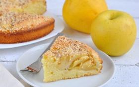 Обои тарелка, начинка, пирог, яблоки, вилка, выпечка