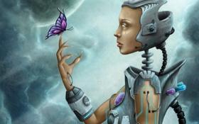 Обои робот, когти, металл, бабочка, девушка, арт, кристаллы