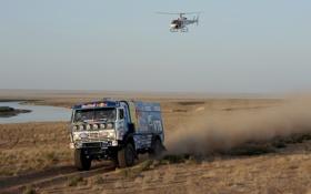 Обои Синий, Спорт, Вертолет, Гонка, KAMAZ, Rally, КАМАЗ