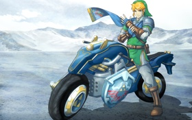 Обои мотоцикл, bike, art, Nintendo, link, Hyrule Warriors, legend of zelda