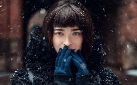 Картинка Девушка, Взгляд, Снег, Волосы, Портрет, Черные, Красивая