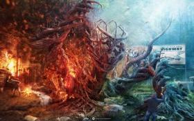 Обои лес, люди, огонь, агрессия, desktopography