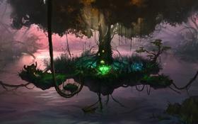 Обои озеро, дерево, остров, арт, канаты, лианы