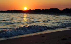 Картинка закат, пейзаж, блеск, небо, солнце, вода, волны