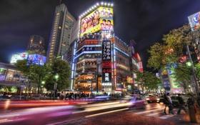 Обои город, япония, размытость, токио