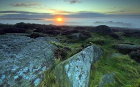 Обои закат, камни, пейзаж