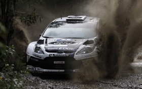 Картинка белый, брызги, Ford, грязь, Форд, WRC, передок