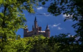 Картинка небо, деревья, ветки, башня, Германия, замок Гогенцоллерн