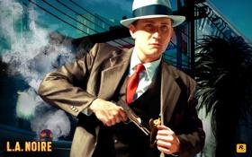 Обои пиджак, костюм, пистолет, L.A. NOIRE, мужчина, тройка, шляпа