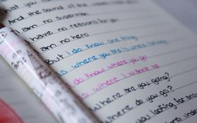 Обои бумага, надписи, настроения, слова, почерк