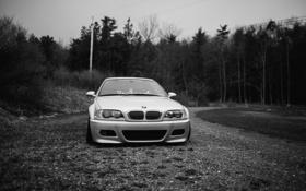 Картинка белый, бмв, BMW, черно-белое, white, E46