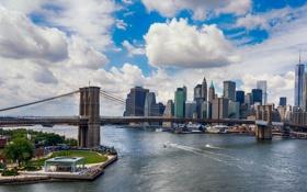 Картинка США, облака, река, Нью-Йорк, залив, Манхэттен, мост