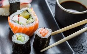 Обои суши, соевый соус, начинка, salmon, роллы, fish, rolls