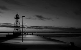 Картинка море, небо, вода, фото, белое, вечер, ч/б