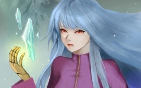 Обои девушка, магия, кристаллы, king of fighters, kula diamond