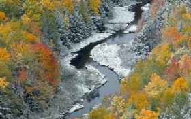 Картинка лес, река, Природа, зима, снег, осень